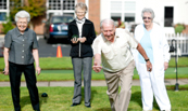 senior adults playing games outside